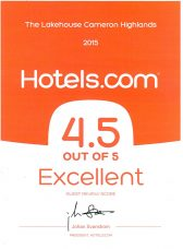 The Lakehouse Receives 2015 Hotels.com Excellent Certificte of Recognition